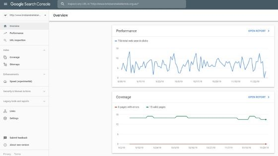 example search console dashboard