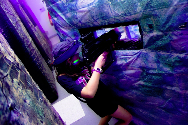indoor gaming with laser tag equipment
